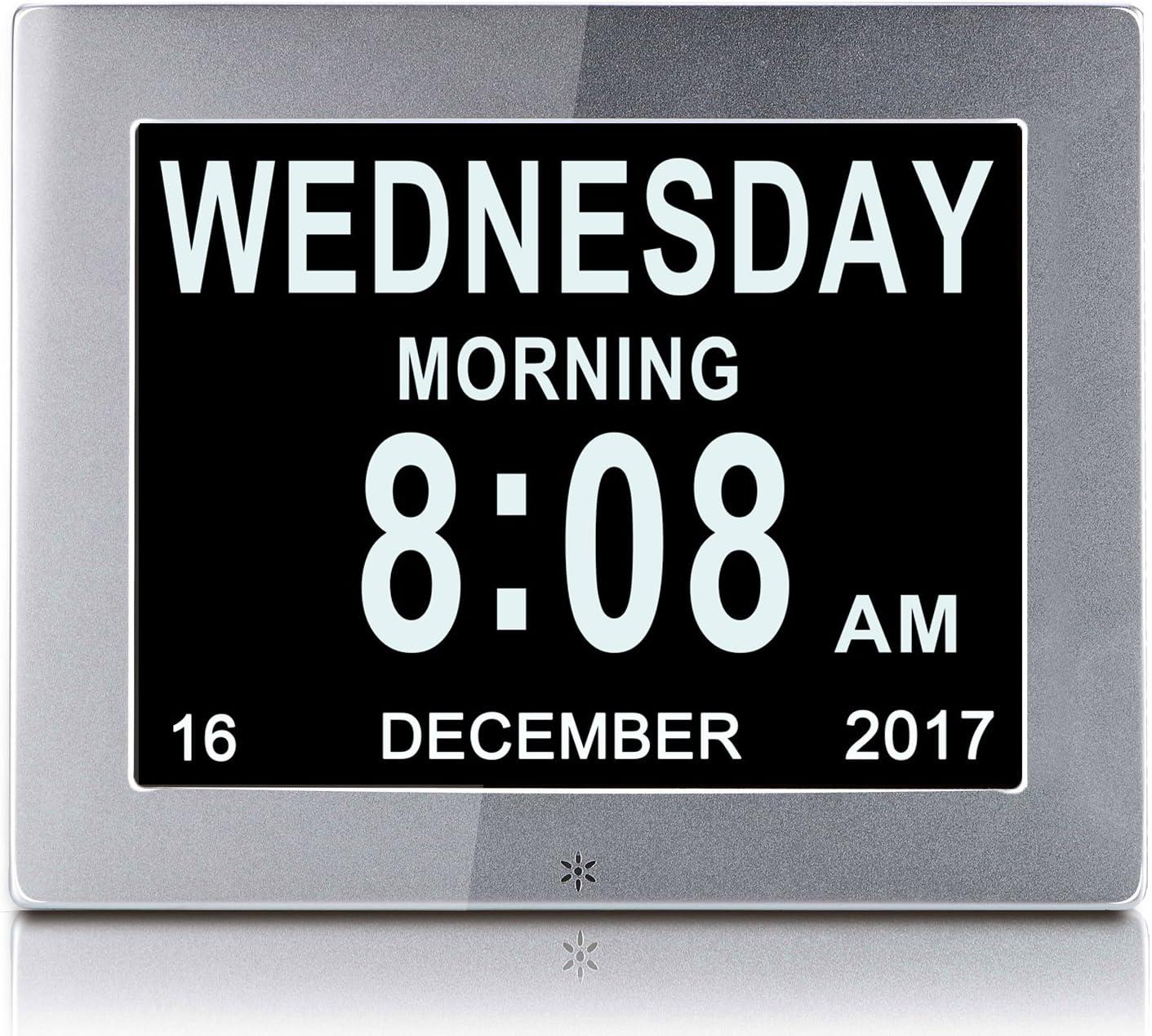 YKal 8Zoll LCD-Digitaluhrkalender mit Datum Nicht abgek/ürzte Uhr schwarz automatisches Dimmen 8 Sprachen HD-Display-Erinnerung f/ür /ältere Alzheimer-Kinder und Kinder Tag und Uhrzeit