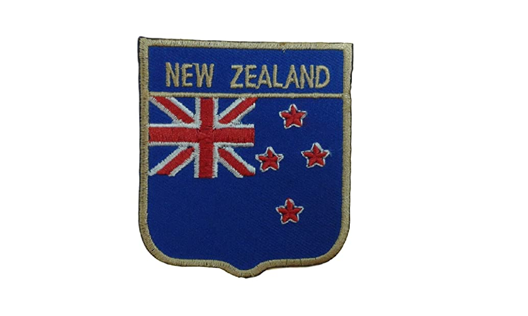 NEW ZEALAND Flag Iron On Patch Applique Shield Motif Country National Decal 2.8 x 2.4 inches (7 x 6 cm)