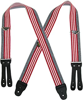 Welch Men's Elastic Button-End American Flag Suspenders (Tall Avail), Multi-color