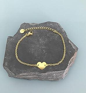 Bracciale gourmette cuore oro 24k, bracciale donna, idea regalo, gioielli regali, cuore gioiello, bracciale in oro, bracci...
