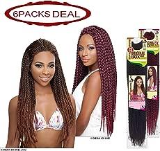 EVE HAIR African Nature Braid - Individual Crochet - Kanekalon Toyokalon & Premium Fiber Blended 3 Strands Original Box Braid Braiding Hair - 12 Inches Medium Size - Color: T1B-30 (Pack of 6)