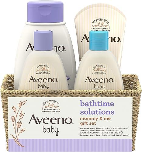 Aveeno Baby Mommy & Me Daily Bathtime Gift Set including Baby Wash & Shampoo, Calming Baby Bath & Wash, Baby Moisturi...