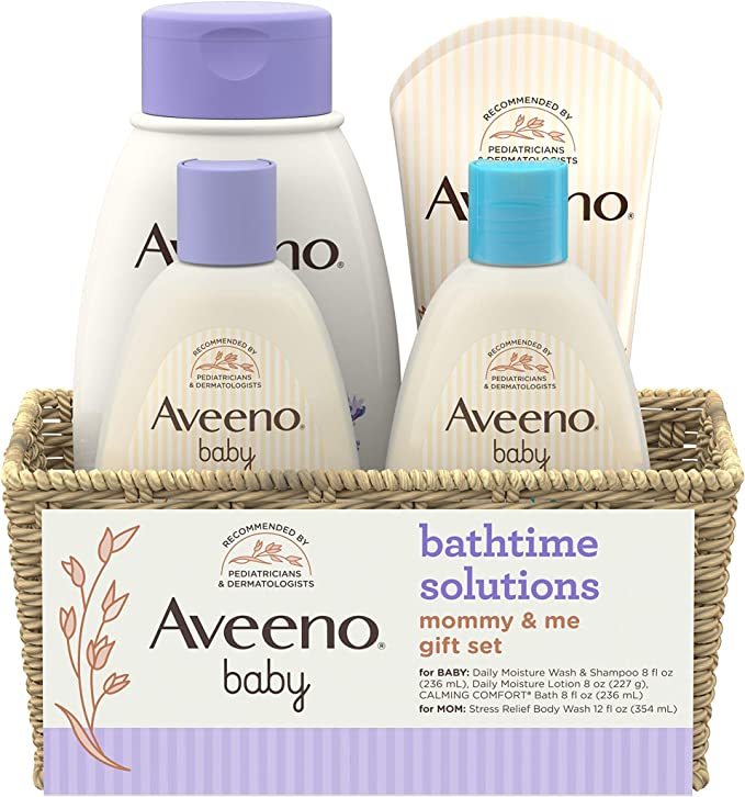 Aveeno Baby Daily Bathtime Solutions Gift Set to Nourish Skin for Baby and Mom, 4 Items