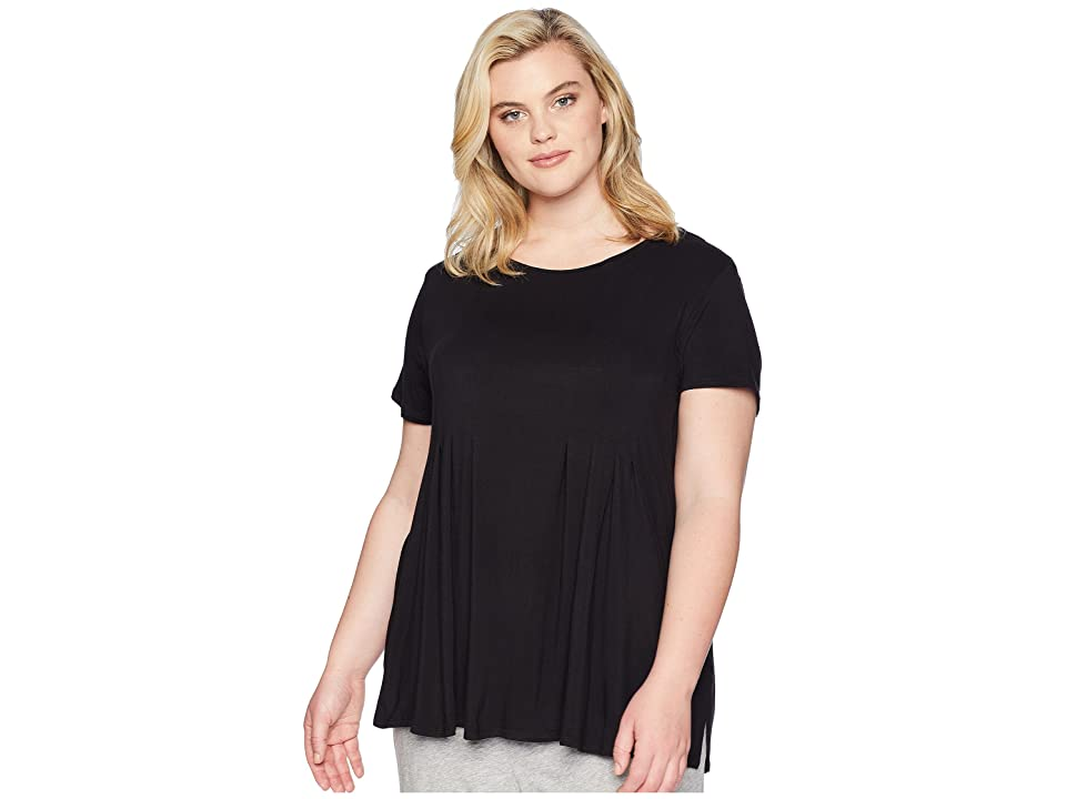Donna Karan Plus Size Modal Spandex Jersey Top (Black) Women
