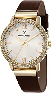 DANIEL KLEIN Premium Alloy Case Genuine Leather Band Ladies Wrist Watch - DK.1.12424-3