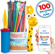 Balloon Animal Kit for beginners and App   100 long twisting balloons for balloon animals, Pump and Balloon App with 24+ video tutorials, fun gift for Boys, Girls & Adults of all ages by BalloonPlay