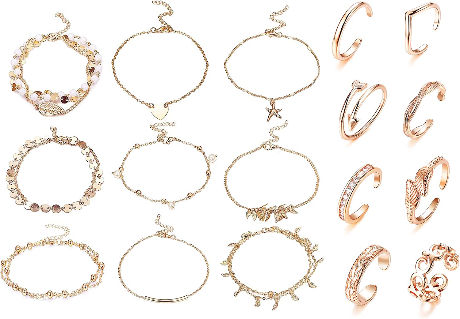 FINREZIO 17 Pcs Rose Gold Ankle Bracelet Toe Ring Set for Women Beach Chain Anklets Open Tail Band Rings Foot Jewelry Set