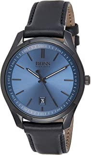 Hugo Boss Mens Quartz Watch, Analog Display and Leather Strap 1513727