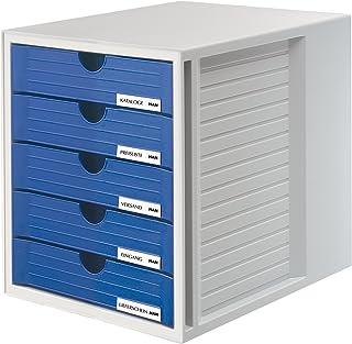 Han - Cajonera de oficina (5 cajones con etiquetas, tamaño C4, 275 x 320 x 330 mm), color gris claro y azul