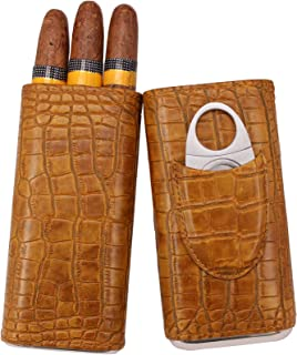 AMANCY Antique Pattern Leather Travel Cigar Holder Case with Cedar Wood Lined