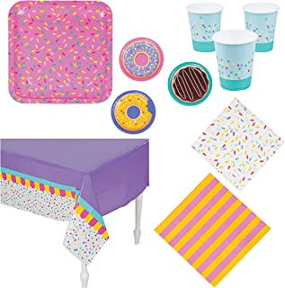 Fun Express Donut Party Bundle | Luncheon & Beverage Napkins, Dinner & Dessert Plates, Cups, Table Cover | Great for Dessert Themed Party, Sugar Rush Birthday Party, Kids Party Supplies