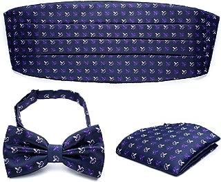 PenSee Mens Formal Fleur-de-lis Florals Jacquard Bow Tie & Pocket Square & Cummerbund Set