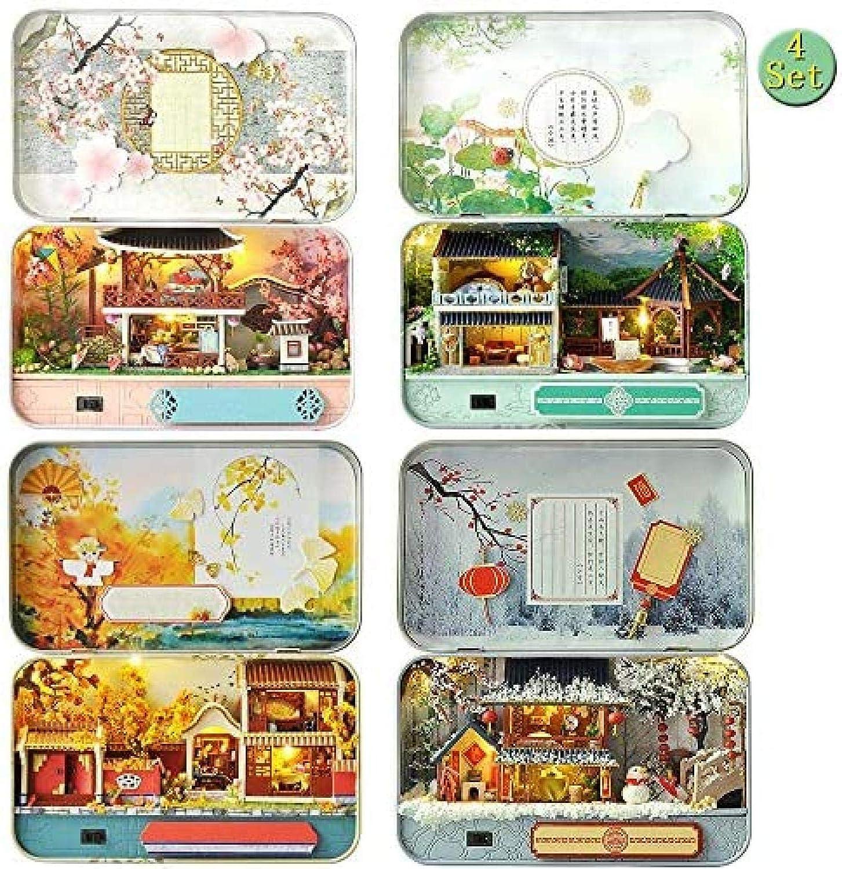 LOVEAI 4 PCS DIY OFFicial Dollhouse Miniature Scenery Do Four Minneapolis Mall Seasons Kit