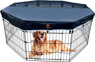 Dog Playpen Mesh Top Cover Keeps Pet Prevent Escape,Pet Secure Pet from UV/Rain and Provide Safe Area for Pet,Fits All 24 ...