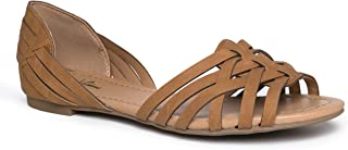 J. Adams Wendi Woven Flat – Comfortable Casual Strappy Peep Toe D'Orsay Sandal