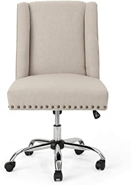 Christopher Knight Home Quentin Desk Chair, Wheat + Chrome
