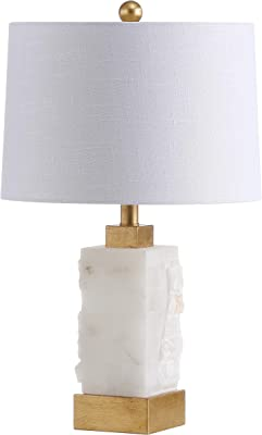 """JONATHAN Y JYL6202A Eloise 23"""" Alabaster/Metal LED Lamp Contemporary,Transitional for Bedroom, Living Room, Office, College Dorm, Coffee Table, Bookcase, White/Gold Leaf"""