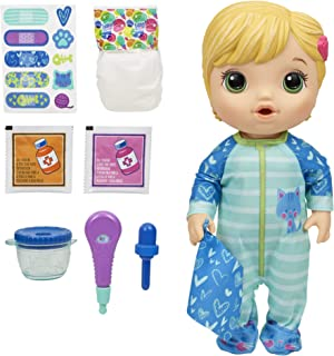 Baby Alive Doll - Mix My Medicine Blonde Baby Doll - Drinks, Wets incl Kitty-Cat Pajamas & Doctor Accessories - Nuturing d...