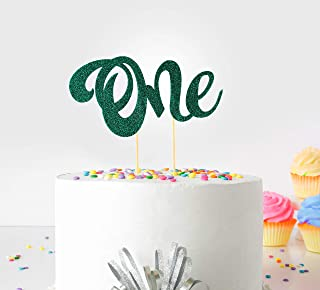 1st (First Birthday Cake Topper Decoration ( Green ) - One - with Double Sided Glitter Stock)
