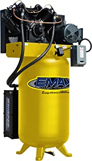 7.5 HP Quiet Air Compressor, 2-Stage, Vertical, 1 Phase, 80-Gallon, EMAX Yellow, Industrial Series, Model ES07V080V1 by EMAX Compressor