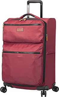 Luggage Ultra Lightweight Softside 24 inch Expandable Suitcase With Spinner Wheels (24in, Red)