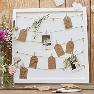 Ginger Ray Alternative Wedding Guestbook Peg & String Tag Frame Rusric Country, White