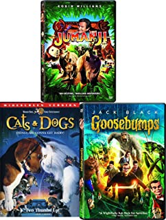 Survive the Wild Animals Goosebumps + Jumanji + Cats & Dogs Triple Family Movie Pack