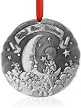 Wendell August Baby's First Christmas Ornament (Silver) - Hand-Hammered Aluminum Hanging Ornament with Baby Animals and Moon - Made in USA Tree Decoration, 3.5""