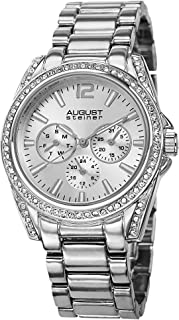 Women's Multifunction Crystal Watch - 3 Subdials Day, Date and GMT on Stainless-Steel Bracelet - AS8075