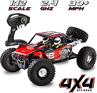 1:12 Scale Fast RC Car Off/On Road 4x4 30+ MPH (50 km/h) High Speed Vehicle 2.4GHz Radio Remote Control Buggy, Delivers Ho...
