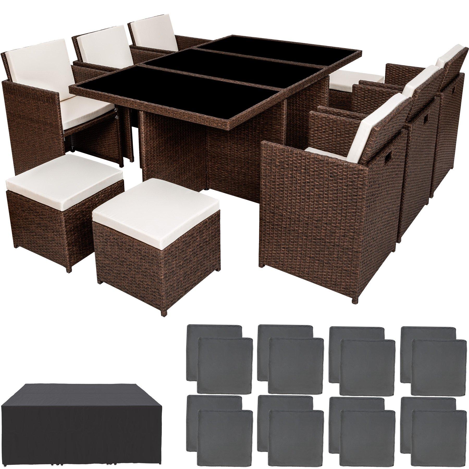 TecTake Poly ratán aluminio sintético muebles de jardín comedor juego 6+4+1 + funda completa + set de fundas intercambiables - disponible en diferentes colores - (Marrón antiguo): Amazon.es: Hogar