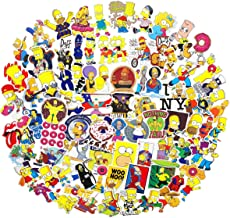 100PCS Simpson Cartoon Stickers Lovely Boy and Girl Sticker Laptop Computer Bedroom Wardrobe Car Skateboard Motorcycle Bicycle Mobile Phone Luggage Guitar DIY Decal (Simpson 100)