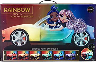 Rainbow High Color Change Car – Convertible Vehicle, 8-in-1 Light-Up, Multicolor with Wheels That Move, Working Seat Belt...