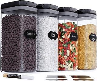 Chef's Path Boites de Rangement Hermétiques pour les Aliments avec Étiquettes– Rangement Cuisine – Farine, Céréales, Pâtes...