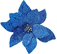 gonfaci Poinsettia Christmas Ornament, Glitter Artificial Flower Decorations for Christmas Tree/Garland/Wreath/Package of Gifts, Festive Home Decor, Pack of 24, Blue