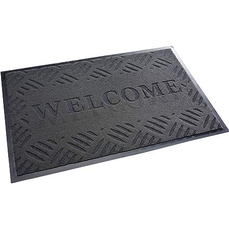 acerto 30210 Felpudo Premium Welcome Trampa de Suciedad Gris 40x60cm * Extremadamente Resistente * Exterior e Interior * A Prueba de heladas * Libre de PVC - Clean Mat Frontal Puerta Alfombrilla
