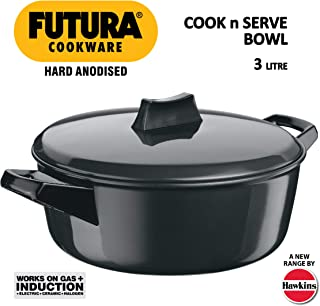 Futura Induction Hard Anodised Cook and Serve Stewpot/Bowl with Induction Base and Lid, 3 L, Small, Black