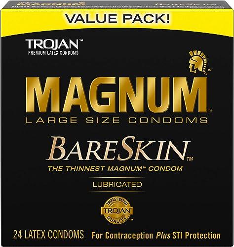 TROJAN MAGNUM BARESKIN Large Size, Premium Quality Latex Condoms, 24 Count