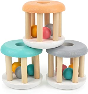 DUCKBOXX XX Wooden Rattle Rollers for Babies Ages 0m – 2yrs (White Base - 3pcs)