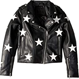 Vegan Leather Moto Jacket with Patchwork Star Detail in The End Game (Big Kids)