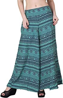 Fraulein Women's/Girls Palazzos Green Panel Printed Soft Crepe Flared Bottom Palazzos with One Pocket and Mesh Inner Linin...