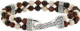 Classic Chain Double Row Bead Bracelet with Tiger Iron and Riverstone