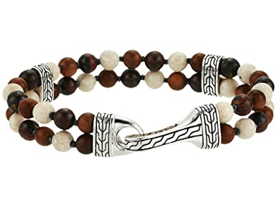 John Hardy Classic Chain Double Row Bead Bracelet with Tiger Iron and Riverstone (Silver) Bracelet