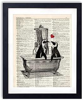 akeke Vintage Dictionary Art Print Romantic Penguin Decorations Bathroom Decor Poster Penguin Gifts for Women Wall Art 8x10 inch Unframed