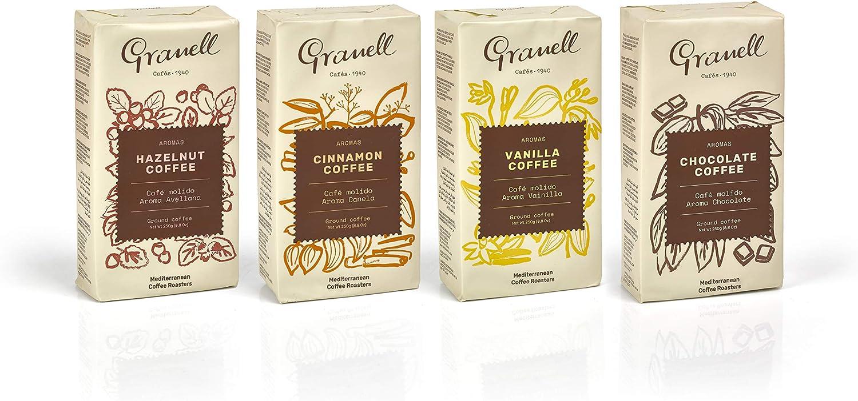 Granell Cafes-1940 Granell - Pack Degustacion Aromas| Cafe Molido 100% Café Arabica - Café Con Un Ligero Toque De Vainilla, Canela, Chocolate O Avellana - Paquetes X 250 Gramos 4 unidades 1000 g