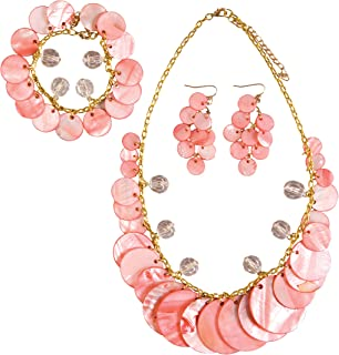 C&F Home Coral Shell Necklace Bracelet Earrings Set