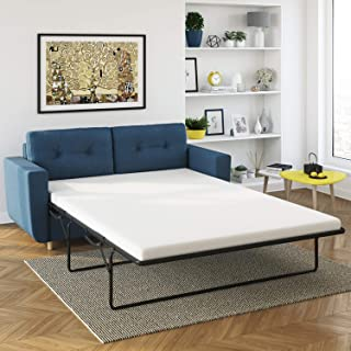 Scandinavian Mid-Century Pull Out Queen Sofa Bed - Sofa Bed Sleeper – Extendable Sofa with Removable Covers – Durable Couch with Solid Pine Wood Legs – Navy Blue or Mustard Covers