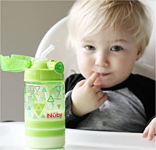 Nuby Thirsty Kids Flip-it Thin Straw Active On the Go Water Bottle with Push Cap and Carry Handle, Green Triangle, 12 Ounce