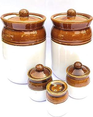 swadeshi enterprises Ceramic Storage Jar - 2000 ml, 100 ml, Set of 5, Brown