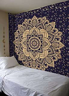 Labhanshi Exclusive Orignal Blue Gold Ombre Tapestry, Mandala Tapestry, Queen Indian Mandala Wall Art Hippie Wall Hanging Bohemian Bedspread